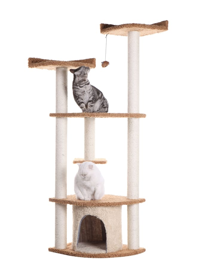 Chocolate Ultra Thick Faux Fur Cat Scratching Furniture For Cats Play
