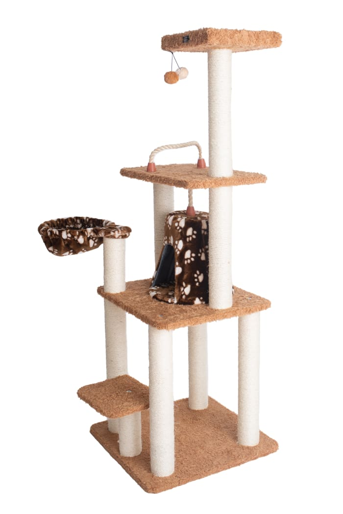 Brown Carpet Cat Furniture Pressed wood Kitty Tower