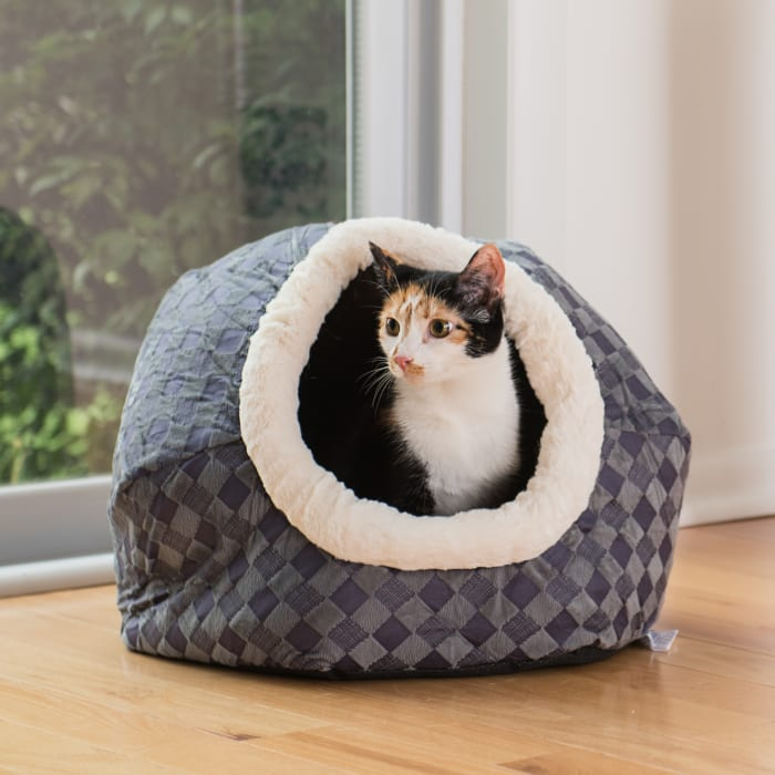Blue Checkered Cuddle Cave Cat Bed For Cats And Puppy Dogs