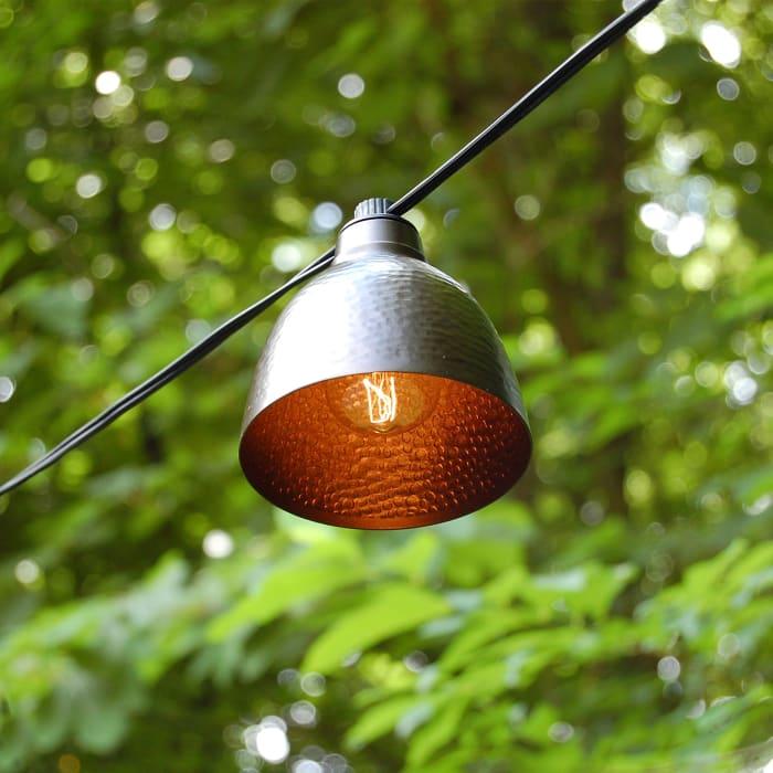 10 Bronze Metal Domes Electric Café String Lights