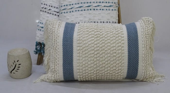 Loop Texture and Fringes Striped Decorative Pillow