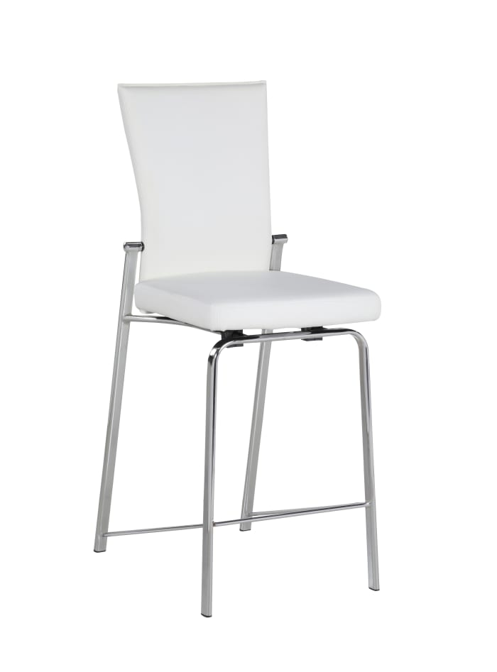 White Contemporary Swivel With Design Back  Bar Stool