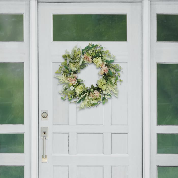"""Puleo 24"""" International Artificial Hydrangea and Dogwood Floral Spring Wreath"""