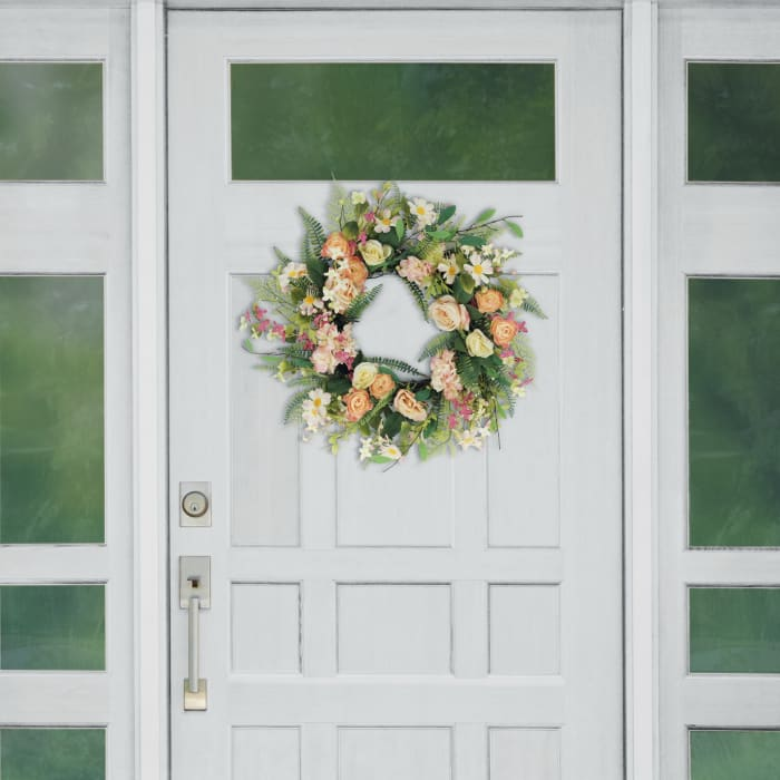 """Puleo 24"""" International Artificial Rose And Hydrangea And Floral Spring Wreath"""