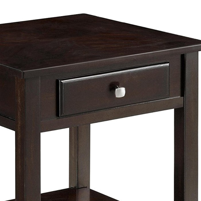 Walnut Brown Drawer and Bottom Shelf Wooden End Table