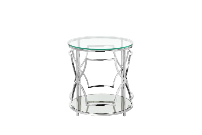 Silver and Clear  Metal Open Geometric Design Base and One Shelf Glass Round Side Table