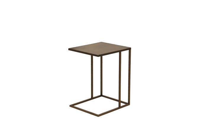 Brown Geometric Base Metal Rectangular Side Table