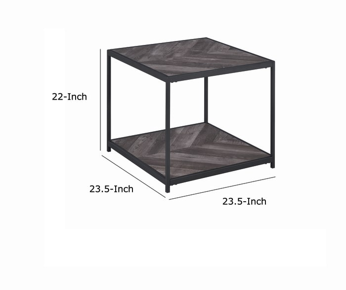 Black and Gray with Wooden Top and Bottom Shelf Metal Frame End Table