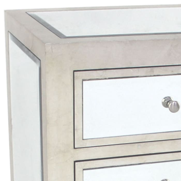 Silver Contemporary 3-Drawer Wooden End Table