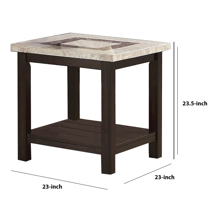 Brown Transitional Marble Top Rectangular End Table
