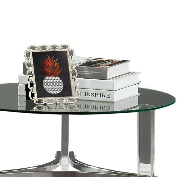 Silver and Clear Acrylic Legs and Metal Supports Round End Table