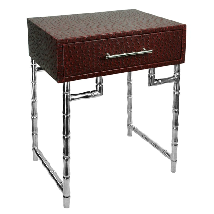 Red and Silver Bamboo Style Legs Wood and Metal Side Table