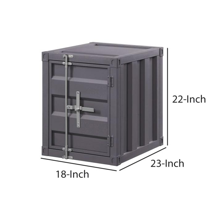 Gray Industrial Metal Cargo with Openable Door End Table