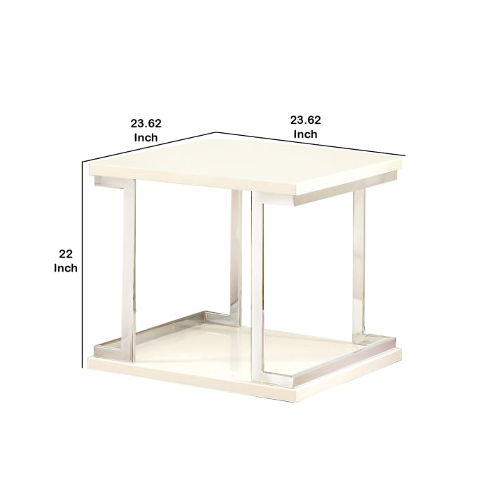 Silver and White Contemporary C Shaped Metal Frame End Table