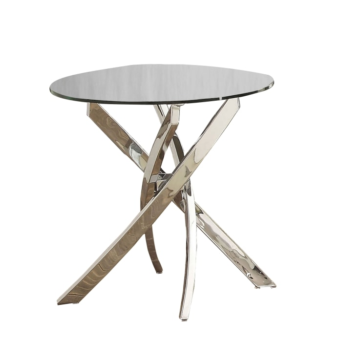 Silver Round Glass Top with Criss Cross Metal Base End Table