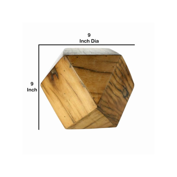 Natural Brown Faceted Icosahedron Shape Block Table