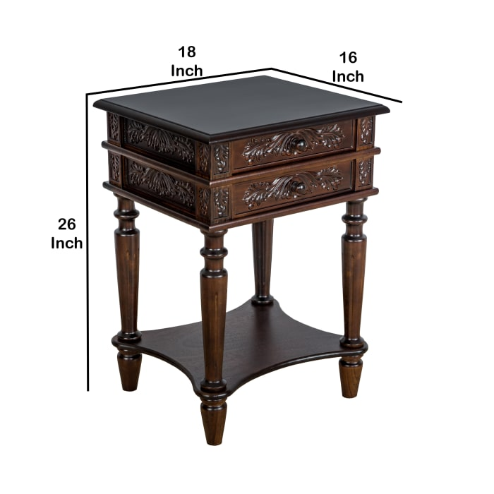 Brown Intricate Carvings Open Bottom Shelf 2-Drawer End Table