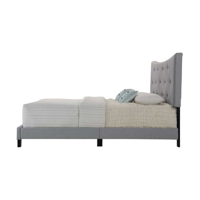Gray Queen Size Tufted Upholstered Bed