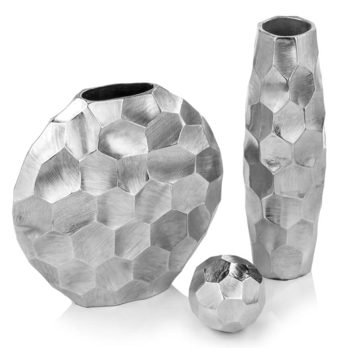 Artistic Rough Round Silver Vase