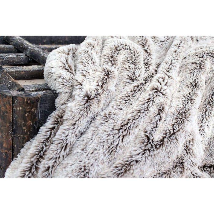 Luxury Gray & Black Faux Fur Throw Blanket