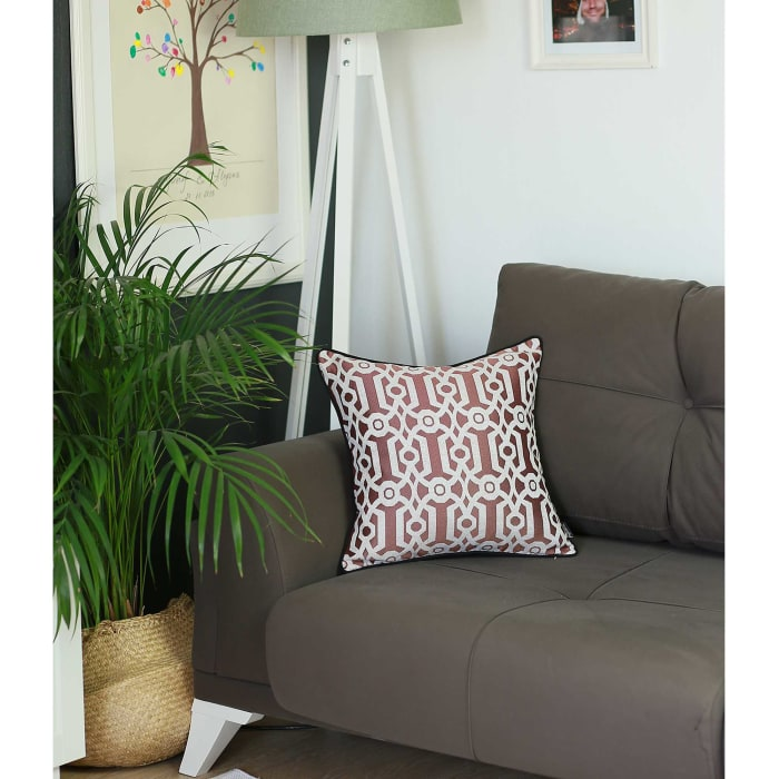 Jacquard Geo Red Decorative Throw Pillow Cover