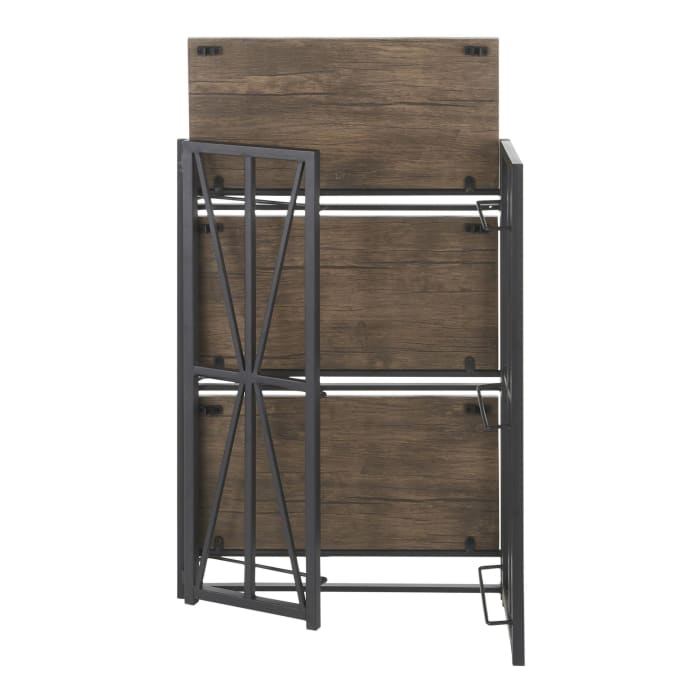 Indy Black Metal and Brown Wood Bookcase
