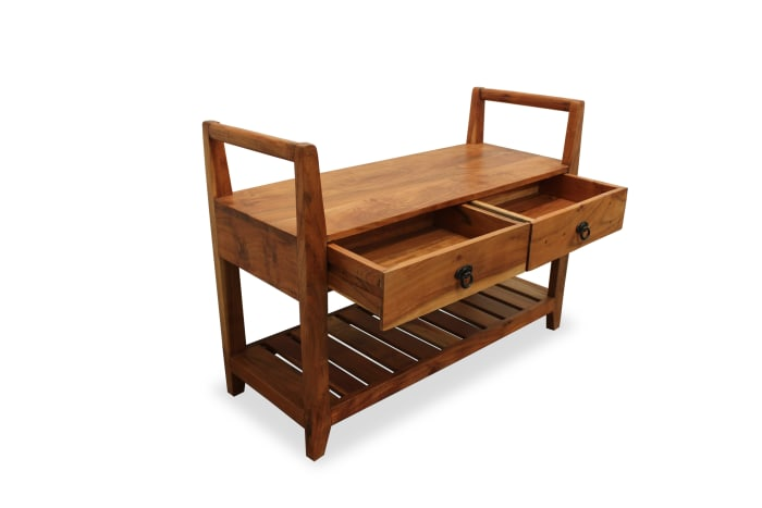 Meelo 2-Drawer Storage Bench with Shelve