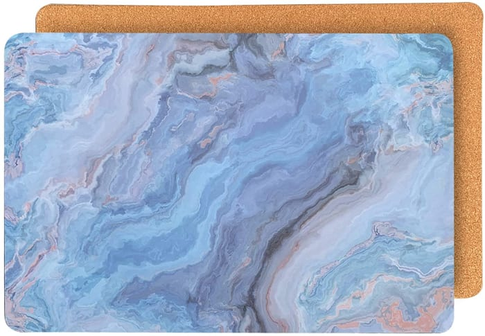 Marble Blue Cork Set of 2 Placemats