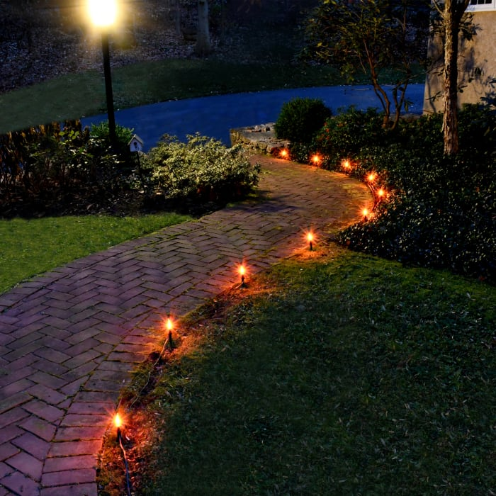 Pathway  with 10 Flickering Orange Bulbs Electric Outdoor String Lights