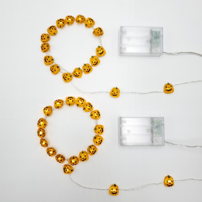 Jack O' Lantern Battery Operated  LED Set of 2 Outdoor Mini String Lights