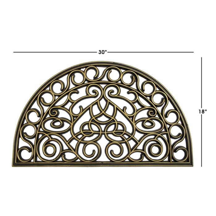 Black Moulded Trellis Half-round Rubber Doormat, 18