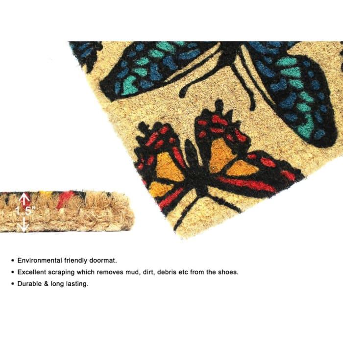 Bleah Handloom Woven & Printed Butterfly Coir Doormat, 18