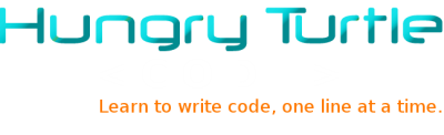 Hungry Turtle Code Logo Text. Learn to write code, one line at a time