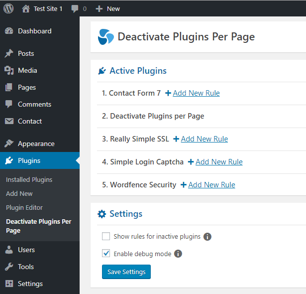 deactivate plugins per page