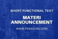 Materi Announcement Text dalam Bahasa Inggris