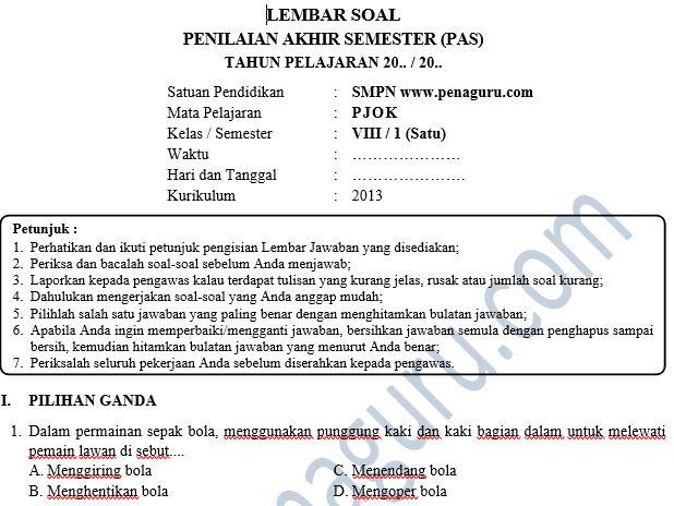 Soal PAS PJOK SMP Semester 1