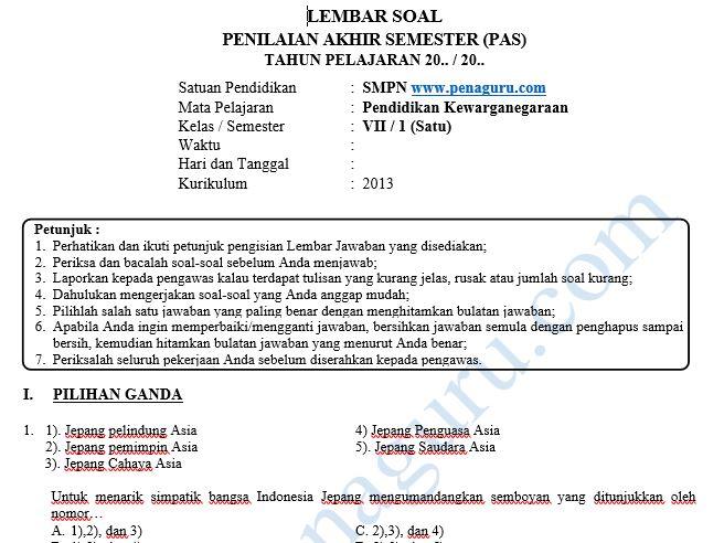 Soal PAS PKn SMP Semester 1