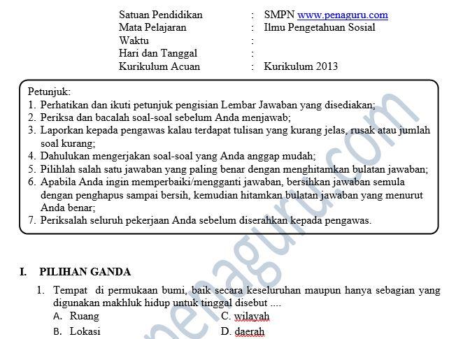 Soal PAS IPS SMP Semester 1