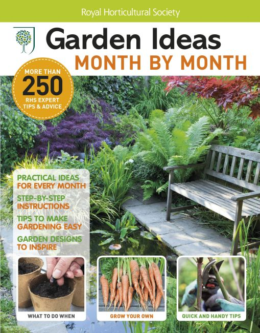 Paperback cover of RHS Garden Ideas Month by Month Bookazine