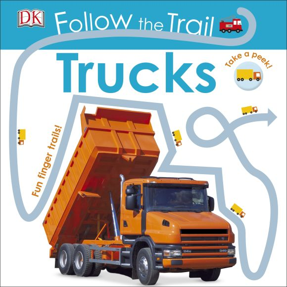 Board book cover of Follow the Trail Trucks