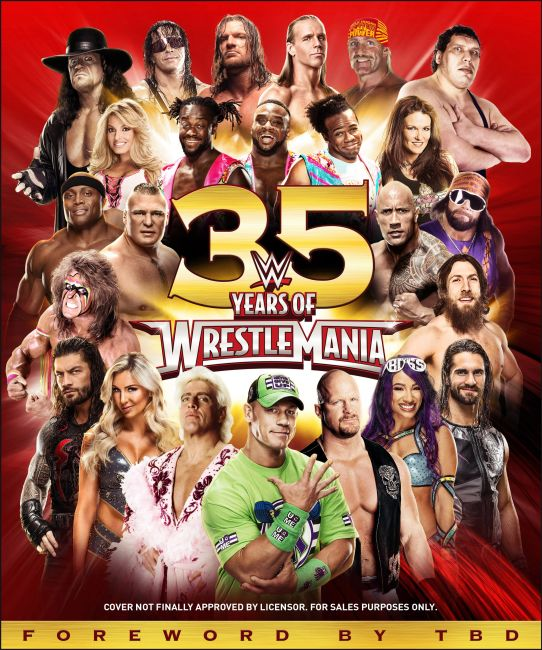 Hardback cover of WWE 35 Years of Wrestlemania
