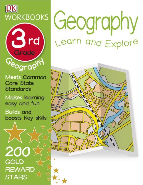 Paperback cover of DK Workbooks: Geography, Third Grade