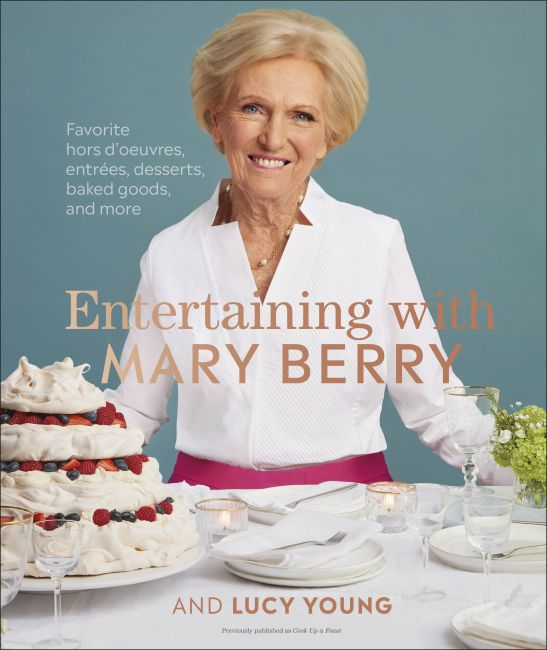 Hardback cover of Entertaining with Mary Berry