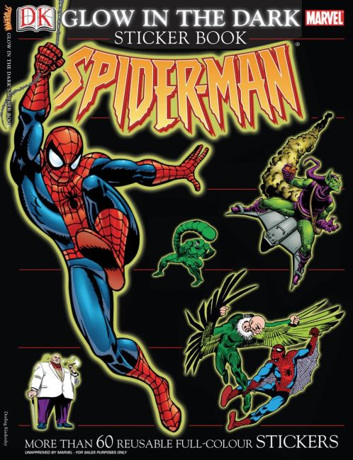 Paperback cover of Ultimate Sticker Book: Glow in the Dark: Spider-Man