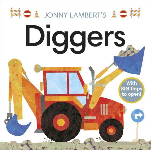 Board book cover of Jonny Lambert's Diggers