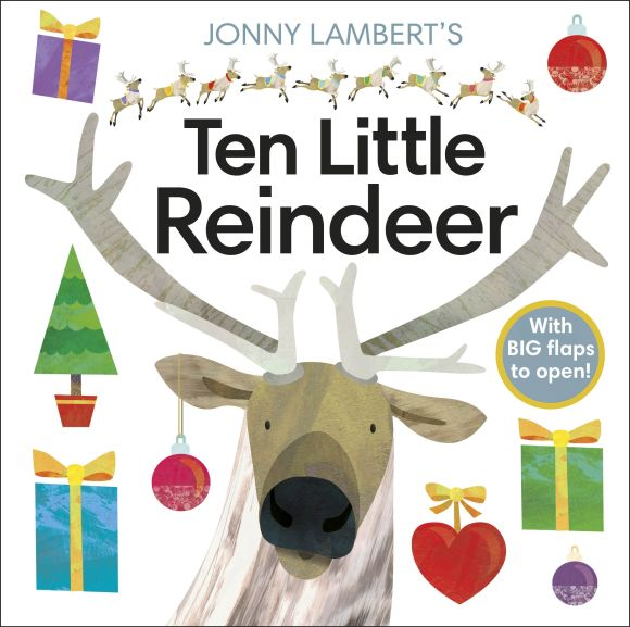Board book cover of Jonny Lambert's Ten Little Reindeer