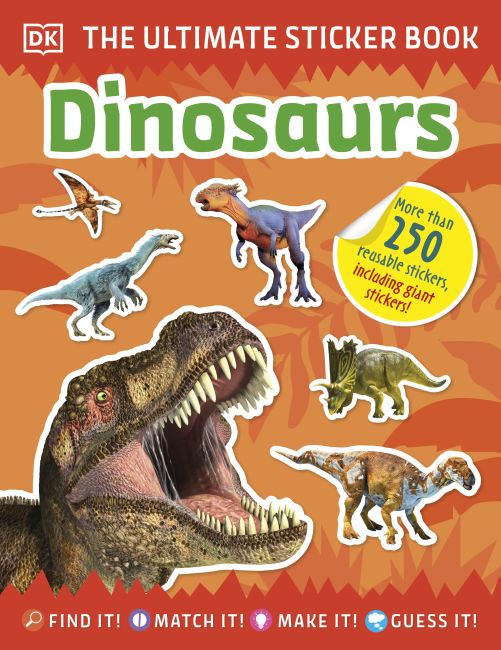 Paperback cover of Ultimate Sticker Book Dinosaurs