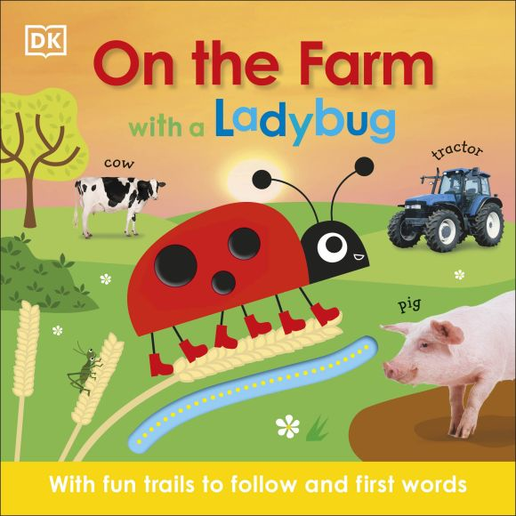 Board book cover of On the Farm with a Ladybug
