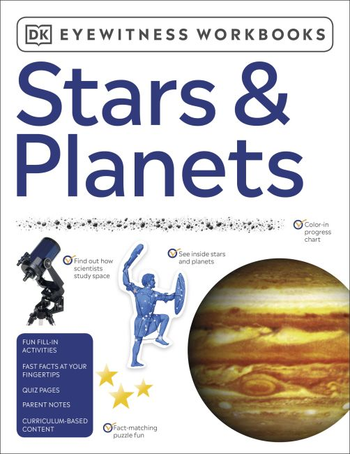 Paperback cover of Eyewitness Workbooks Stars & Planets