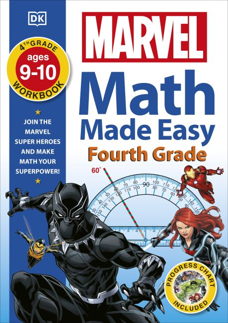 Paperback cover of Marvel Math Made Easy Fourth Grade 9-10 years